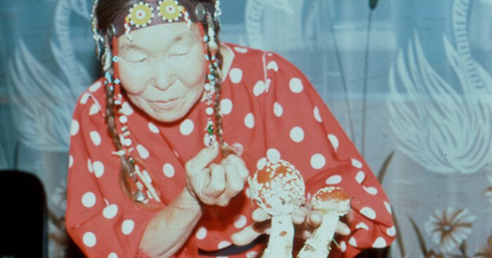 Siberian Shaman performing ritual with Fly Agaric