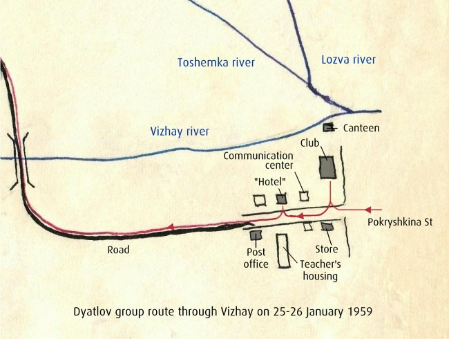 Dyatlov Pass: Dyatlov group route through Vizhay