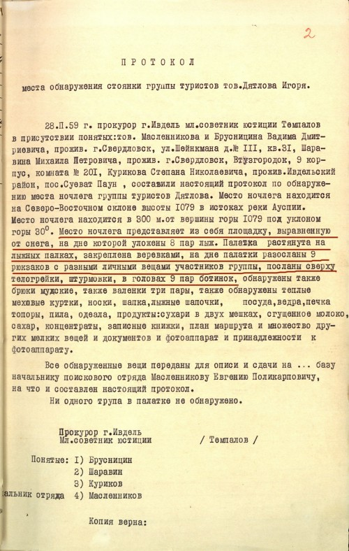 Dyatlov Pass: Protocol of the hikers camp site