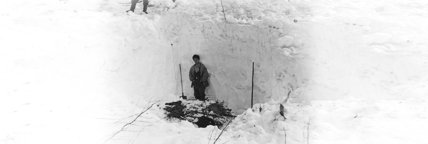 Dyatlov Pass: The retrieved empty bivouac, prepared with branches of fir