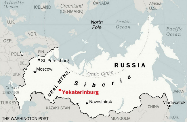 Yekaterinburg between Ural Mountains and Siberia