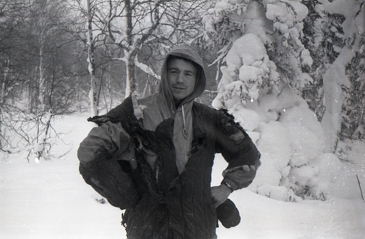Dyatlov Pass: Kolevatov posing in his burned quilted jacket
