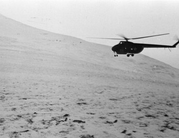 Helicopter №68 (Mi-4 142nd Separate Mixed Aviation Squadron) arrives at the pass for a group of searchers