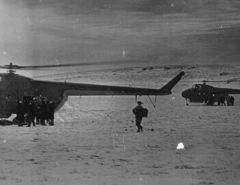 Boarding two helicopters at the same time №№ 68 and maybe 15 or 16 from 142nd Separate Mixed Aviation Squadron. Brusnitsyn archive