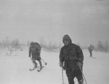 Climbing to the pass. Jan 31. Thibeaux-Brignolle, Dyatlov, and Slobodin. Two more in the distance. Dyatlov and Slobodin without backpacks.