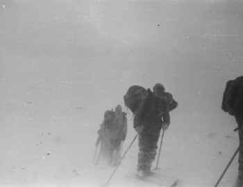 The group on the pass. Feb 1. Doroshenko, Thibeaux-Brignolle, Krivonischenko, Slobodin, and Dyatlov (with the tent).