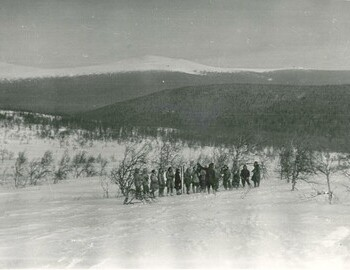 A group of hikers in search. Third from the right (in overalls) - Krylov.