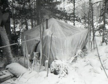 The search camp. The small tent was used as a storage shed.