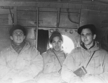 In the helicopter. Suvorov-Askinadzi-Fedorov. From Koskin's archive.