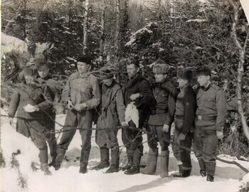 Farewell to Blinov's group. Left to right (civilian only): Blinov-Arzamastsev