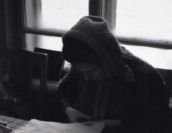 Jan 24 - Kolmogorova is sewing equipment at the table. School in Serov Jan 24. Letter to her family started on the table.