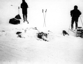 Tent and first 5 bodies found by Samodelov group one day after the tragedy, Jan 28, 1973