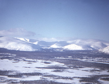 View to Khibinskie Tundry mountain from the rescue helicopter on February 2, 1973. © Borzenkov archive