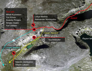 Chivruay Pass incident map - location of the bodies