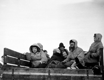 26 Jan 1959, Dyatlov group is in the back of of Gaz-63. Weather is cold and windy. They will try to protect themselves with a tent, but Yudin will still get sick.