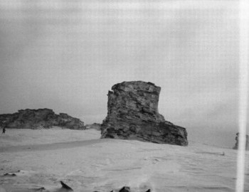 1959 - This shot is taken from the direction where Dyatlov tent was found. This is where the rock gets the name Boot Rock.
