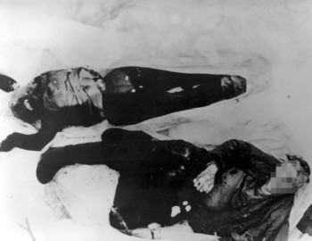 The bodies of Lyudmila Dubinina and Nikolay Thibeaux-Brignolle