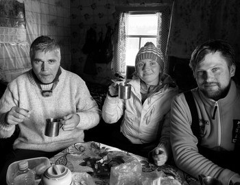Richard Holmgren, Ekaterina Zimina and Konstantin Keller in Ushma village