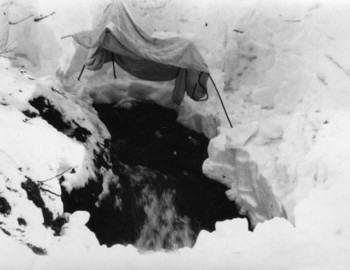 The remaining 3 bodies were covered for the night and exscavated in the morning of March 6th 1959 - photo archive Tolya Mohov