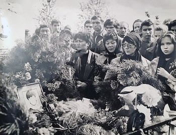 Timur Bapanov's funeral - he was the youngest member of the group, only 15 years old