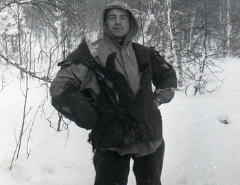 Kolevatov posing in his burned quilted jacket