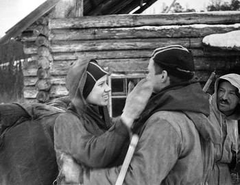 28 Jan 1959, 2nd Nerthern settlement. Farewell Yura Yudin with Zina Kolmogorova. Zolotaryov is looking at Zina.