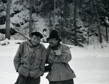 Thibeaux-Brignolles and Semyon Zolotaryov swapped hats, guys are in great mood during a break on Lozva river o 28 Jan 1959