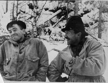 Thibeaux-Brignolles and Semyon Zolotaryov during a break on Lozva river o 28 Jan 1959