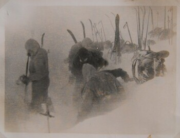 """Setting up the tent"". There are prints in Vadim Brusnitsyn, Nikolay Popov, and Vladislav Bienko archives."