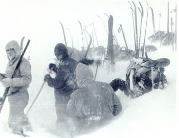"""Setting up the tent"". Far left: Krivonischenko. Close with his back turned is presumably Slobodin; further (in dark) is Kolevatov."