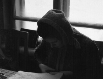 24 January 1959 - Serov, 41-th school, Zina is cutting sheepskin insoles with felt scissors.