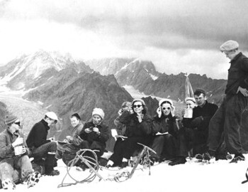Zina is frontal holding her glasses, fourth from the right. 1957 Caucasus